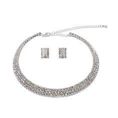 Bright Alloy Silver Plated With Rhinestone Wedding Bridal Jewelry Set - USD $ 11.79