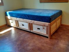 Back To The Lake Captain's Bed - 3 Separate Drawers, Hand-crafted, Solid Wood…