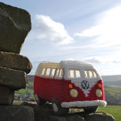 Pull up in your campervan and admire the view. Crochet Campervan pattern