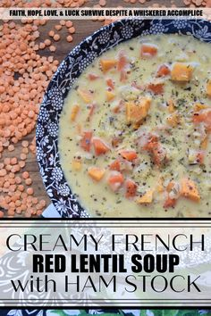 Creamy French Red Lentil Soup with Ham Stock - Instead of tossing out your leftover holiday ham bone, why not use it to make this creamy red lentil soup instead? After all, why should you waste all of that delicious salty ham flavor, when you can use it to make this red lentil, carrot, and sweet potato soup, seasoned with Herbes de Provence? This French-inspired red lentil soup is bound to become an after-the-holiday new family favorite recipe. Delicious Dinner Recipes, Great Recipes, Favorite Recipes, Ham And Lentil Soup, Holiday Ham, Ham Bone, True Food, Sweet Potato Soup, Grits