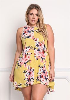 Plus Size Clothing | Plus Size Floral Gauze Hi-Lo Dress | Debshops