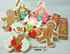 Gingerbread houses, kids, snowman, Funky cookie studio