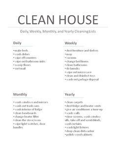 Master Cleaning List | fabuloushomeblog.comfabuloushomeblog.com