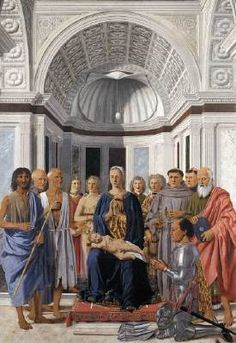 PIERO DELLA FRANCESCA (b. 1416, Borgo San Sepolcro, d. 1492, Borgo San Sepolcro)   Click!	 Madonna and Child with Saints (Montefeltro Altarpiece)  1472-74 Oil and tempera on panel, 248 x 170 cm Pinacoteca di Brera, Milan