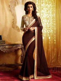 Brown Georgette Saree With Embroidery Work