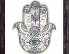 Large Print Hamsa Hand Drawing Black & White Hamsa Amulet