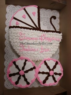babyshower cakes | Baby Girl Carriage Baby Shower Cake