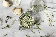 Hand-chopped Garlic Herb Salt Recipe From: Saveur, please visit Herb Salt Recipe, No Salt Recipes, Garlic Recipes, Cooking Recipes, Prosciutto Recipes, Easy Recipes, Spices And Herbs, Fresh Herbs, Do It Yourself Food