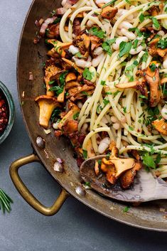 NYT Cooking: This is a great pasta for autumn, hearty and deeply flavorful. Wild golden chanterelle mushrooms are especially nice and often available in the fall Veggie Recipes, Pasta Recipes, Healthy Recipes, Healthy Food, How To Cook Steak, How To Cook Pasta, Wild Mushrooms, Stuffed Mushrooms, Chanterelle Mushroom Recipes