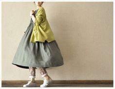 Gray  Women  Loose  linen Short  Sleeved  Long  Dress