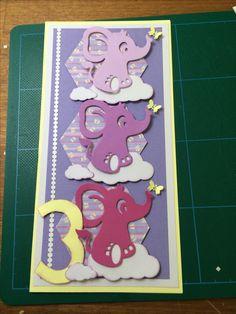 Kort / Card Elefant / Elephant Sommerfugl / Butterfly Sky / Cloud Hjemmelavet / Homemade