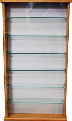 Glass Display Cabinet Unit 6 Shelves Sliding Door Wall Mountable Oak Effect New