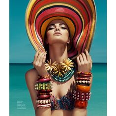 Barbara Fialho Models Beach Style for Harper's Bazaar Mexico by Danny... via Polyvore featuring photos
