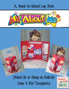 Lap books are a lot of fun and get kids excited to write! Especially when they get to share information about themselves. Have them create this fun keepsake with the All About Me Back-to-School Lap book. Back 2 School, Beginning Of The School Year, New School Year, First Day Of School, All About Me Poster, Teacher Notebook, School Items, Back To School Activities, School Projects