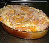 Rezept: Süßer Topfen - Reis - Auflauf 1l Milch, 250g (Milch-) Reis, 100g Zucker, 4 Eier, 250g Quark, 1 Dose Pfirsiche