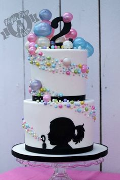 Amazing bubble cake by High Five Cakes w/personalized silhouette of the birthday girl Bubble Cake, Bubble Party, Pretty Cakes, Cute Cakes, Fondant Cakes, Cupcake Cakes, Fun Cupcakes, Silhouette Cake, Girl Silhouette