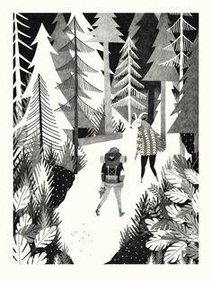 Tallskog ett stort vackert tryck från  Liekeland