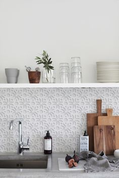WHITE 3D 1405 kitchenwalls backsplash wallpaper