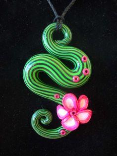 Green n Black Striped Pendant by ~Laurenry on deviantART