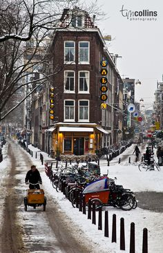 bicycling in winter in Amsterdam, The Netherlands | T M Collins Photography via Facebook