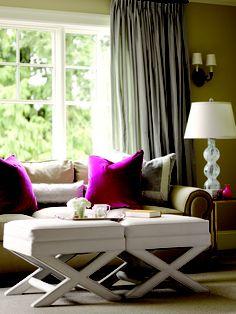 Living Room..love the pops of fuchsia