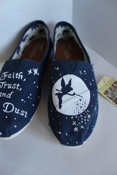 This pair of hand painted TOMS is designed after the character Tinkerbell  from Disneys Peter Pan 03bcb6e5f