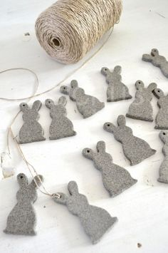 Grey felt bunnies. Adorable. The Paper Mulberry: Happy Easter!