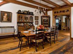 Primitive timber frame dining room
