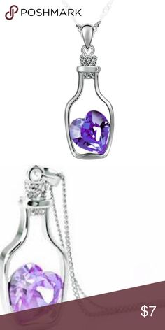 Bottled Heart White gold filled bottle necklace with a light purple crystal heart Jewelry Necklaces