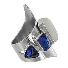 Sterling Silver Created Sapphire Rainbow Moonstone Adjustable Ring by Lilly Barrack
