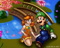 Luigi and Daisy sitting by the waterside. Super Mario is © to Nintendo SMB- Luigi and Daisy Nintendo Characters, Disney Characters, Fictional Characters, Princess Daisy, Disney Princess, Luigi And Daisy, Mario Comics, Super Smash Bros, Super Mario