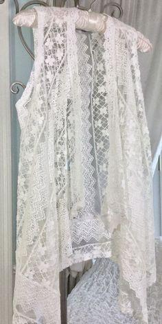 NEW ~ S Small Ivory Off White Lace Crochet Boho Vest Open Wrap Scarf Kimono | eBay