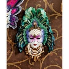 Maidens of Mardi Gras Wall Mask Sculpture: Peacock Princess