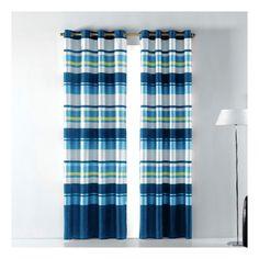 "Cortina Visillo ""Gomera"" Azul - 140x260 cm con anillas de Barceló Hogar.  #cortinagomera #cortinas #visillos #decoracion #salones #dormitorios #barcelohogar #textilhogar"