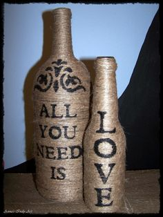 Twine wrapped wine bottles. All you need is love :)