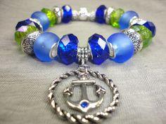 European Charm Bracelet/Indigo, Cobalt, and Spring Green European Style Charm Bracelet With Anchor Charm Nautical Style