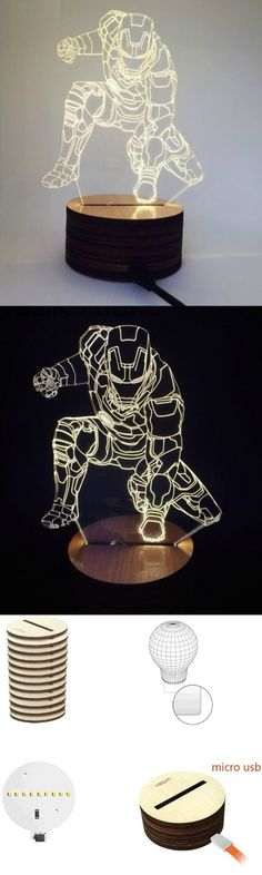 Iron Man Led Night Light 3D Wood Lamp! Click The Image To Buy It Now or Tag Someone You Want To Buy This For. #IronMan