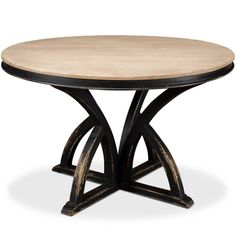 Distressed black round dining table with x-styled base and wood top. #frenchcountry, #diningtables Black Round Dining Table, French Country Dining Table, French Country Furniture, Country Dining Rooms, Dining Tables, Industrial Chic Kitchen, Outdoor Tables, Outdoor Decor, Country Chic