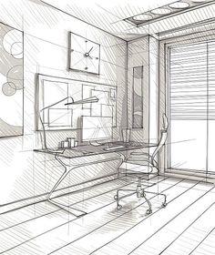 Interior Architecture Drawing, Architecture Concept Drawings, Interior Design Sketches, Architecture Design, Perspective Sketch, Point Perspective, Drawing Furniture, Art Studio Design, Illustration