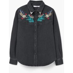 MANGO Embroidered Denim Shirt ($80) ❤ liked on Polyvore featuring tops, long sleeve denim shirt, embroidered shirts, long sleeve collared shirts, long sleeve tops and collar top