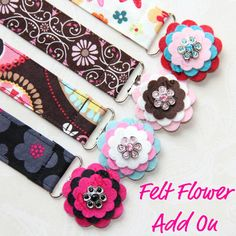 Add On -- Layered Felt Flower with Button Rhinestone Bling -- YOU DESIGN on Etsy, $2.16 CAD