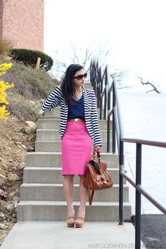 32a50a01c4 Striped blazer, pink skirt, navy blouse (the stripes minimize the impact of  the