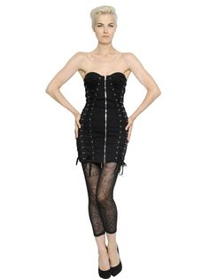 JEAN PAUL GAULTIER - LACE-UP COTTON LACE BUSTIER DRESS - LUISAVIAROMA - LUXURY SHOPPING WORLDWIDE SHIPPING - FLORENCE