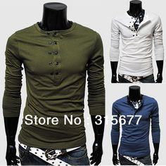 Free shipping 2013 tops t shirts for men long sleeve casual slim t-shirt collection 5 color M-XXL double-breasted design fashion