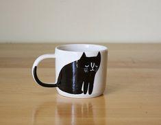 Cute Animal Mugs - cat mug by Beardbangs