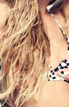 Beach Hair and Bikini!   Love this print.