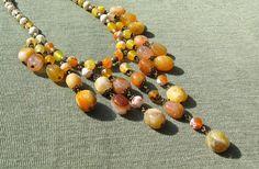 Yellow Agate Fringe Necklace Bohemian Bib necklace by SanaGem