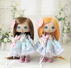 Купить Малышки - голубой, интерьерная кукла, коллекционная кукла, текстильная кукла, подарок девушке