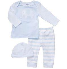 Conjunto de algodão em azul claro da Carter's com 3 peças: Touca Calça Blusa manga longa Tamanho: 6 meses http://meubambino.com.br/produtos/conjunto-azul-bebe-carters/