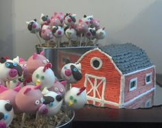 Barn cake with barnyard animal cake pops
